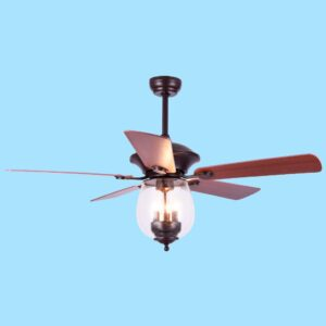 Ventilador de techo GAIA con motor DC de 5 celocidades y programable en varios tiempos mediante mando a distancia