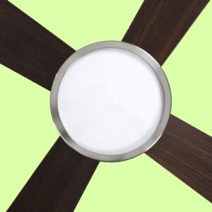 Ventilador de techo ZURICH con 3 temperaturas de color: luz fría, cálida o neutra. Regulable mediante mando a distancia