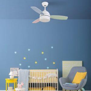 NASAU, Ventilador de techo silencioso en habitación infantil