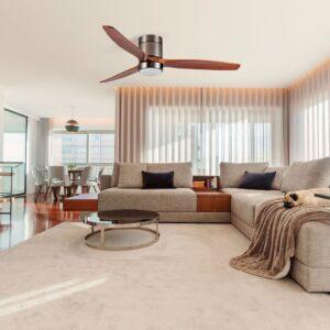 MANILA, ventilador de techo de madera real, embellece y aclimata el salón