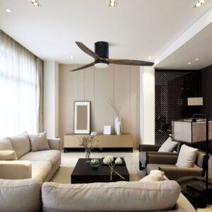 MOALA, ventilador de techo con aspas de madera en el comedor