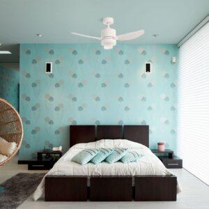 Ventilador de techo ELLIS blanco climatizando una habitación