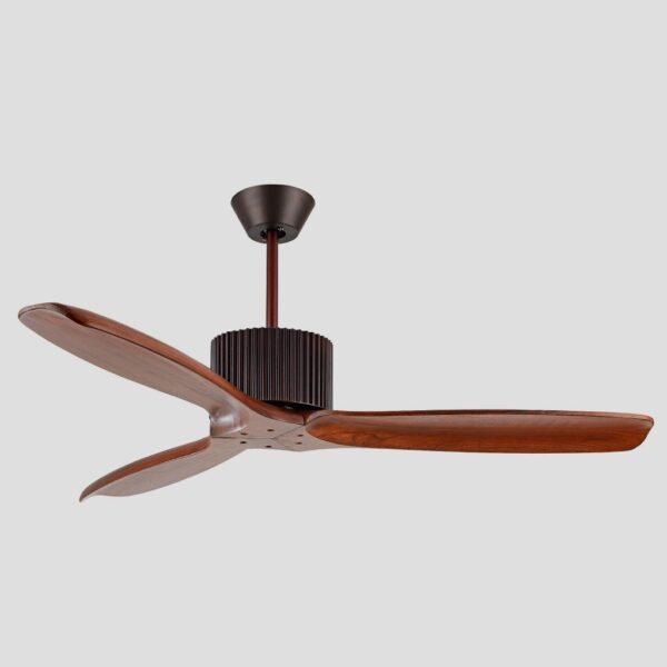 Ventilador de techo TULUM con aspas de madera. Incorpora motor DC de varias velocidades y luz LED con 3 temperaturas de color