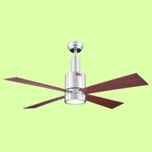 Ventilador de techo ZURICH con cuerpo metálico y aspas de madera. Incorpora motor DC de varias velocidades y es programable mediante mando a distancia.