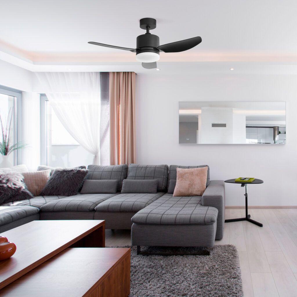 Ventilador de techo ELLIS negro en salón