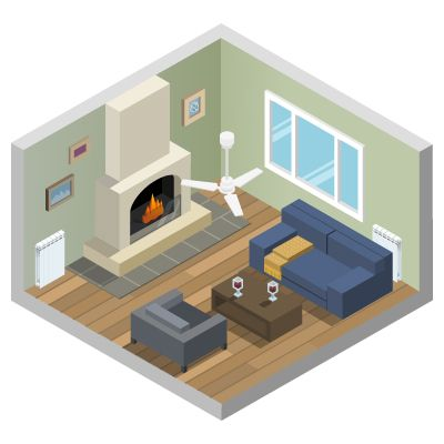 Salón con ventilador de techo instalado