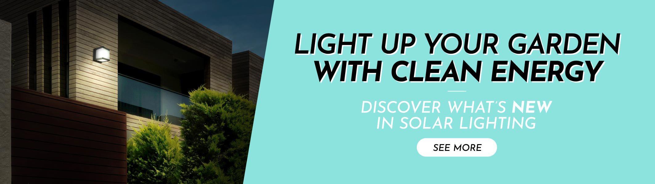 Novedades iluminación solar banner en inglés